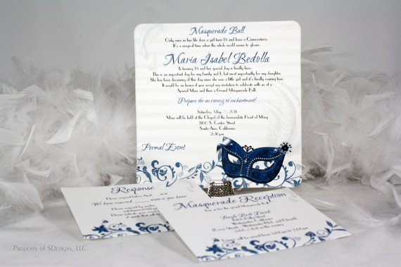 Masquerade Ball Birthday Party Invitations