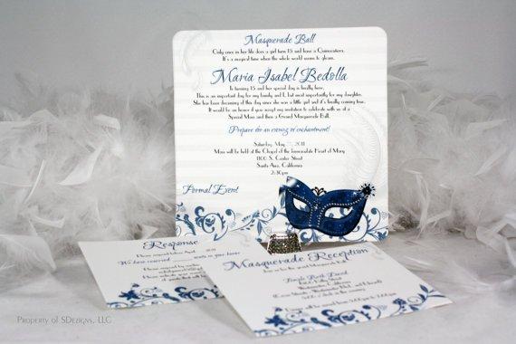 Masquerade Ball Birthday Party Invitations