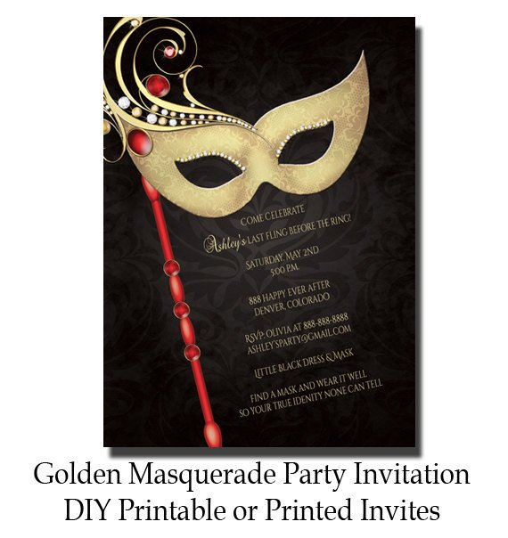 Masquerade Invitations Free Printable Bridal Shower