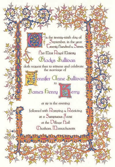 Medieval times invitations for Tudor menu template