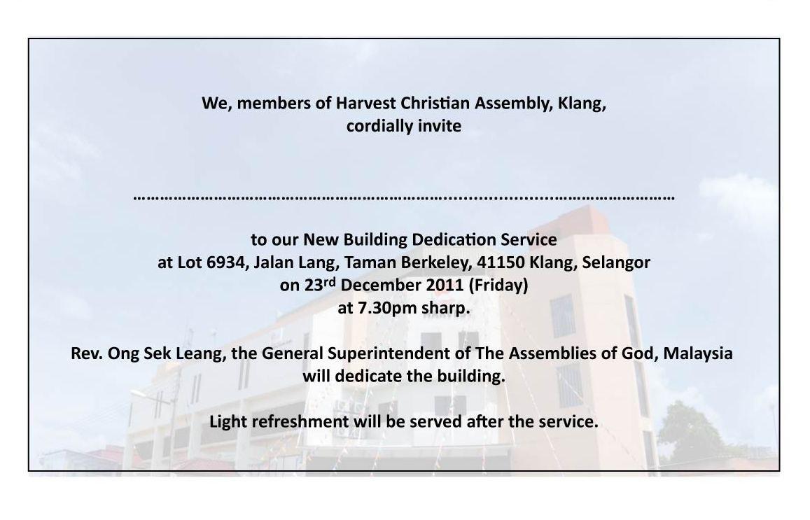 Memorial Dedication Invitation Wording