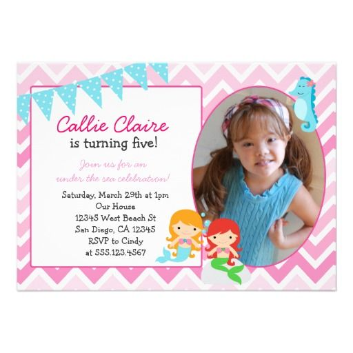 Mermaid 1st Birthday Invitations