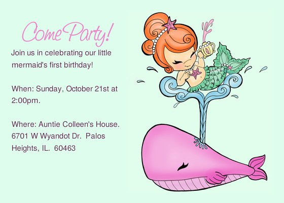 Mermaid 1st Birthday Invitations Templates