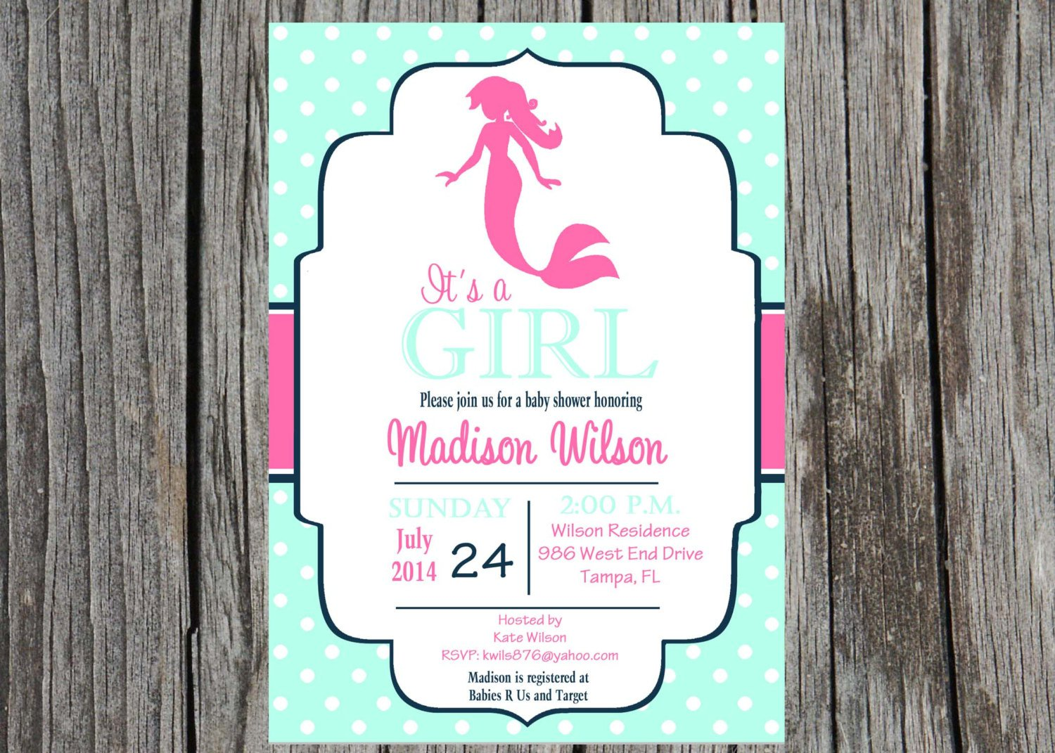 Mermaid Baby Shower Invitations
