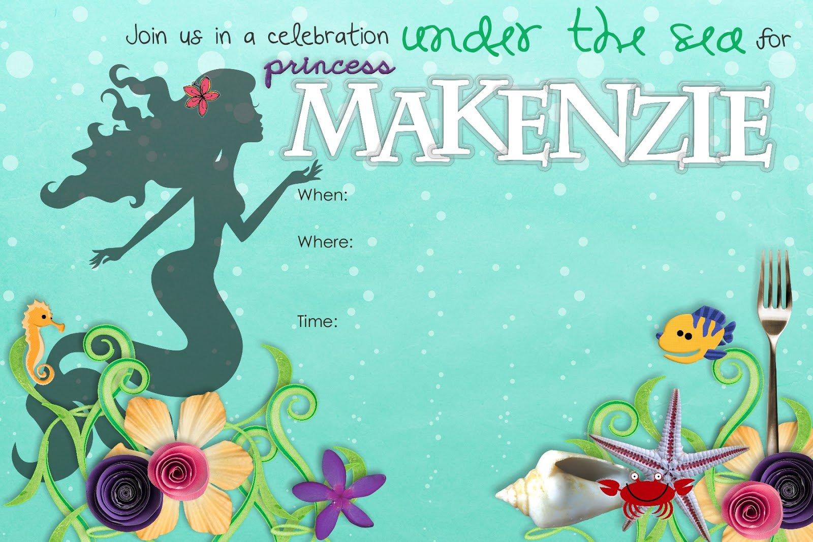 Mermaid Birthday Invitation Templates