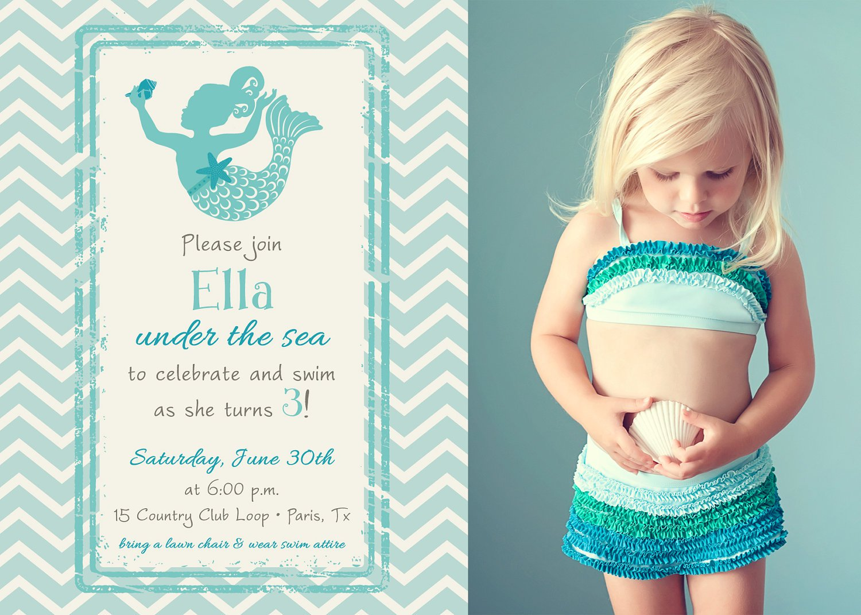 Mermaid Birthday Invitations Etsy