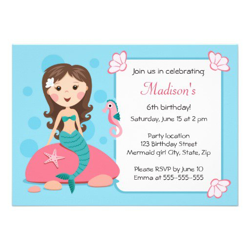 Mermaid Birthday Invitations For Girls