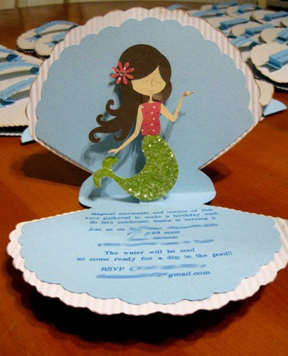 Mermaid First Birthday Invitations