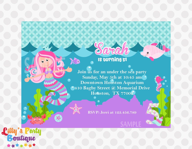 Mermaid Invitations Etsy