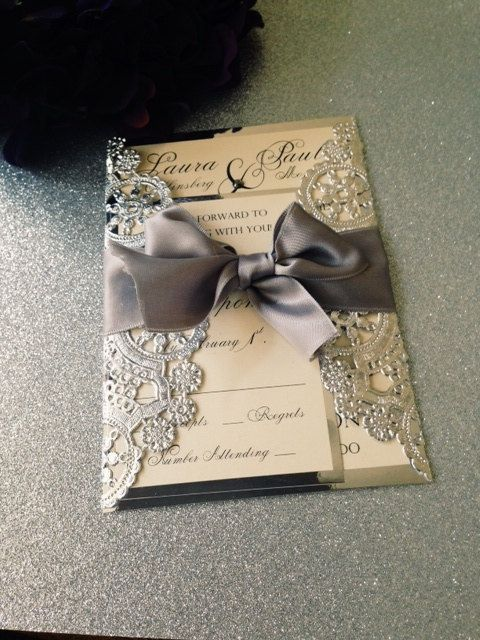 Metallic Doilies Wedding Invitation Suite With Ribbon Bow