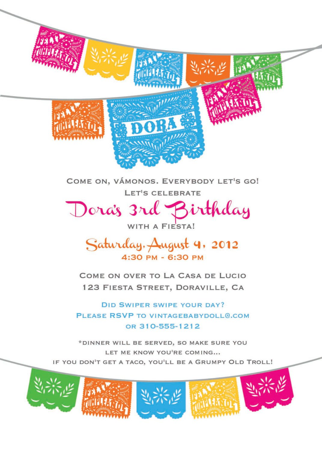 Mexican Party Invitation Blank Templates