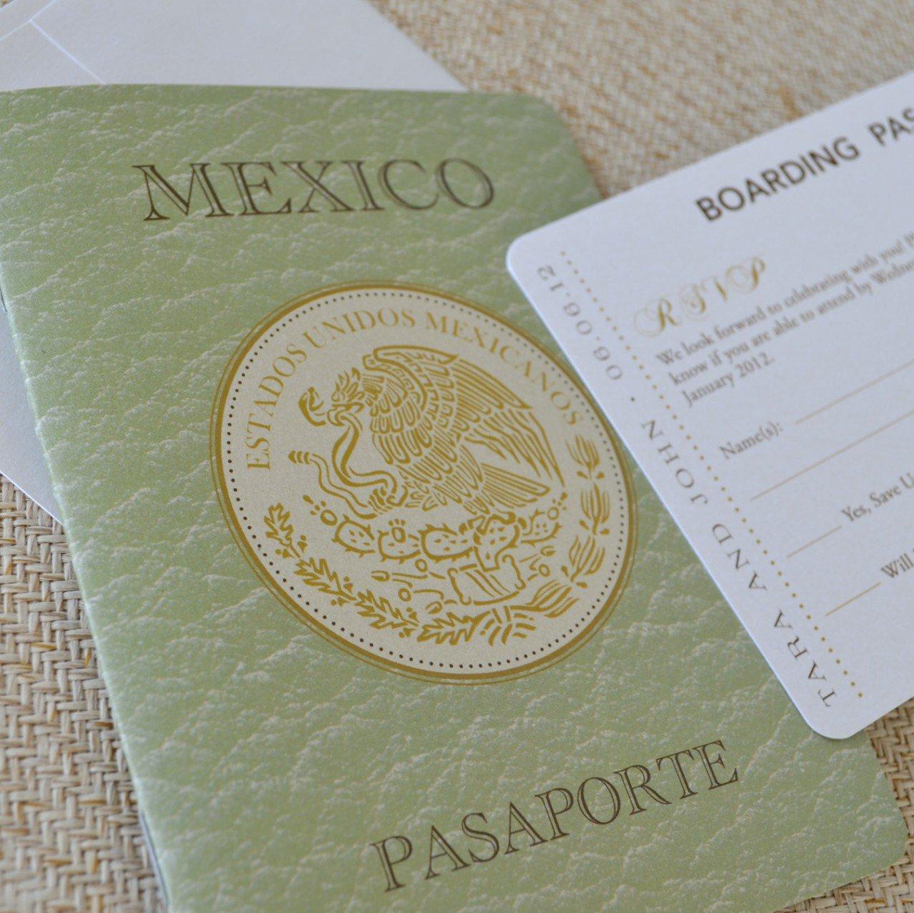 Mexico Passport Wedding Invitations