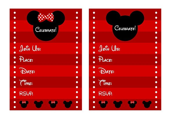 Mickey And Minnie Personalized Invitations