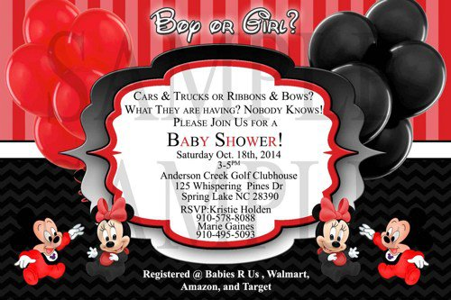 Mickey And Minnie Twin Baby Shower Invitations