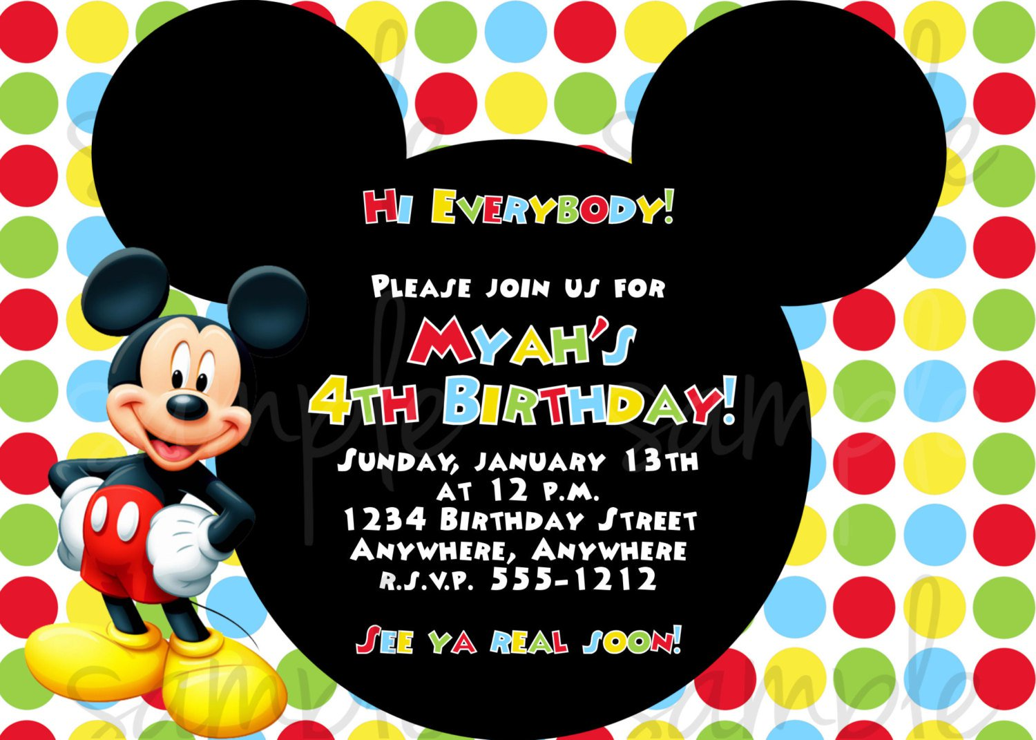 Mickey Mouse Clubhouse Invitation Wording Ideas