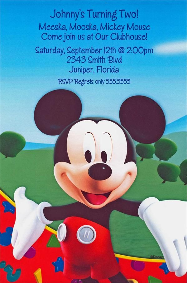 Mickey Mouse Clubhouse Invitations Pinterest