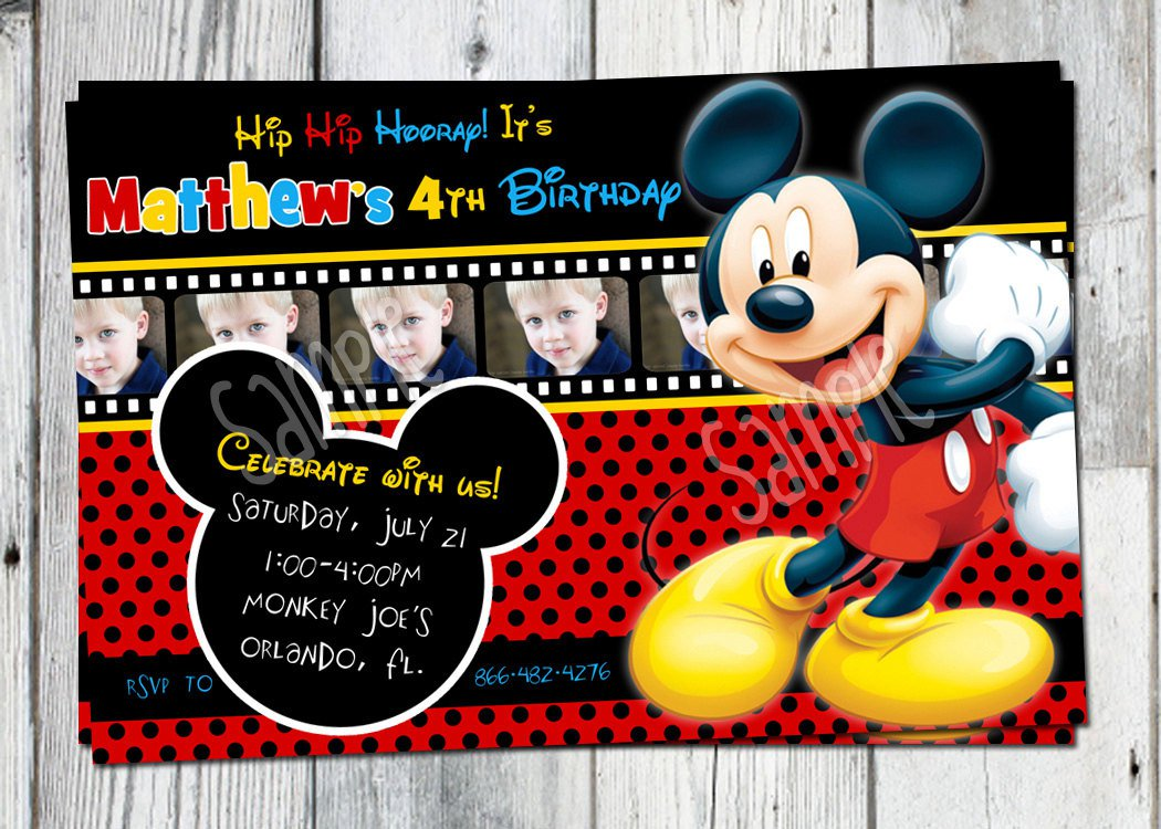 Mickey Mouse Printable Birthday Party Invitations