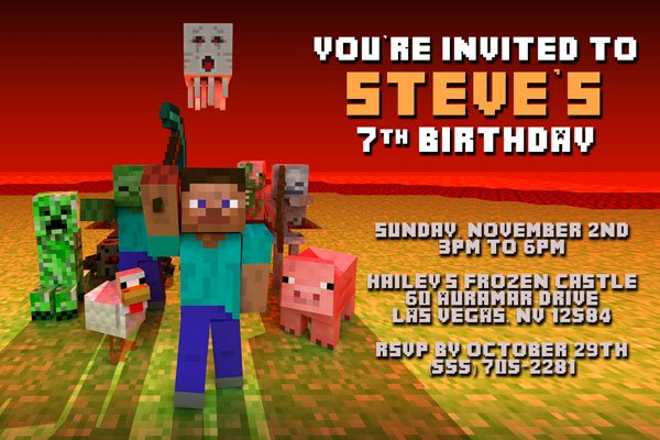 Mine Craft Invitations