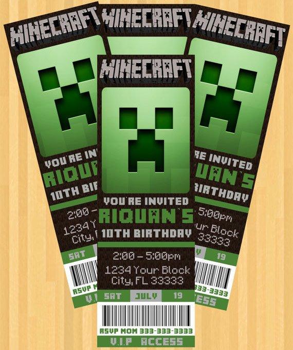 Minecraft Birthday Party Invitation Download