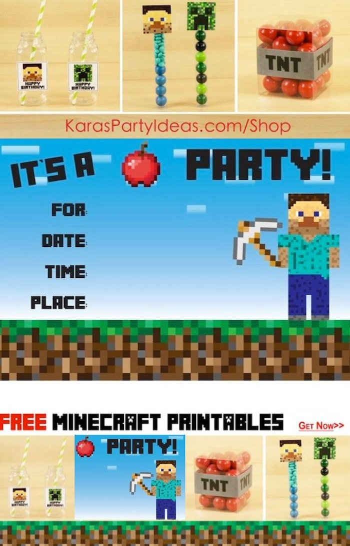 Minecraft Birthday Party Invitation Ideas
