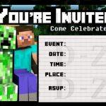 Minecraft Birthday Invitation Gangcraftnet - Minecraft birthday invitation card template