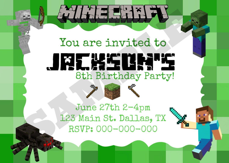 minecraft birthday invitations minecraft birthday invitations