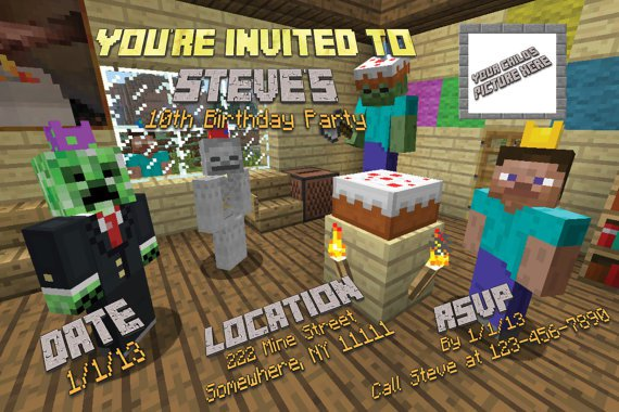 Minecraft Invitations Diy