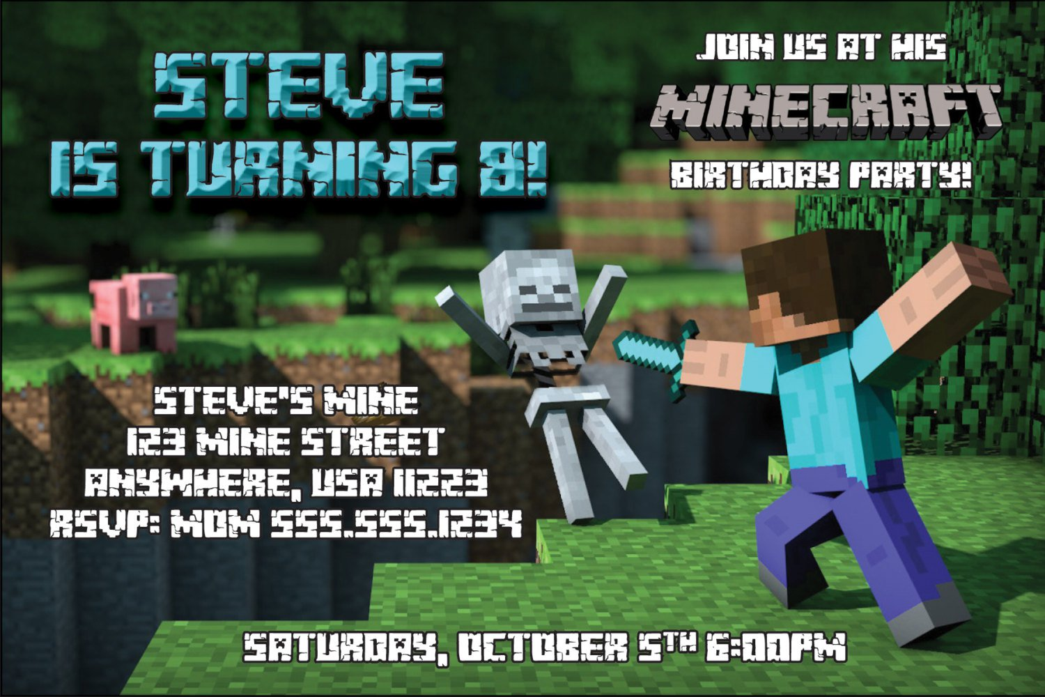 Minecraft Invitations Walmart
