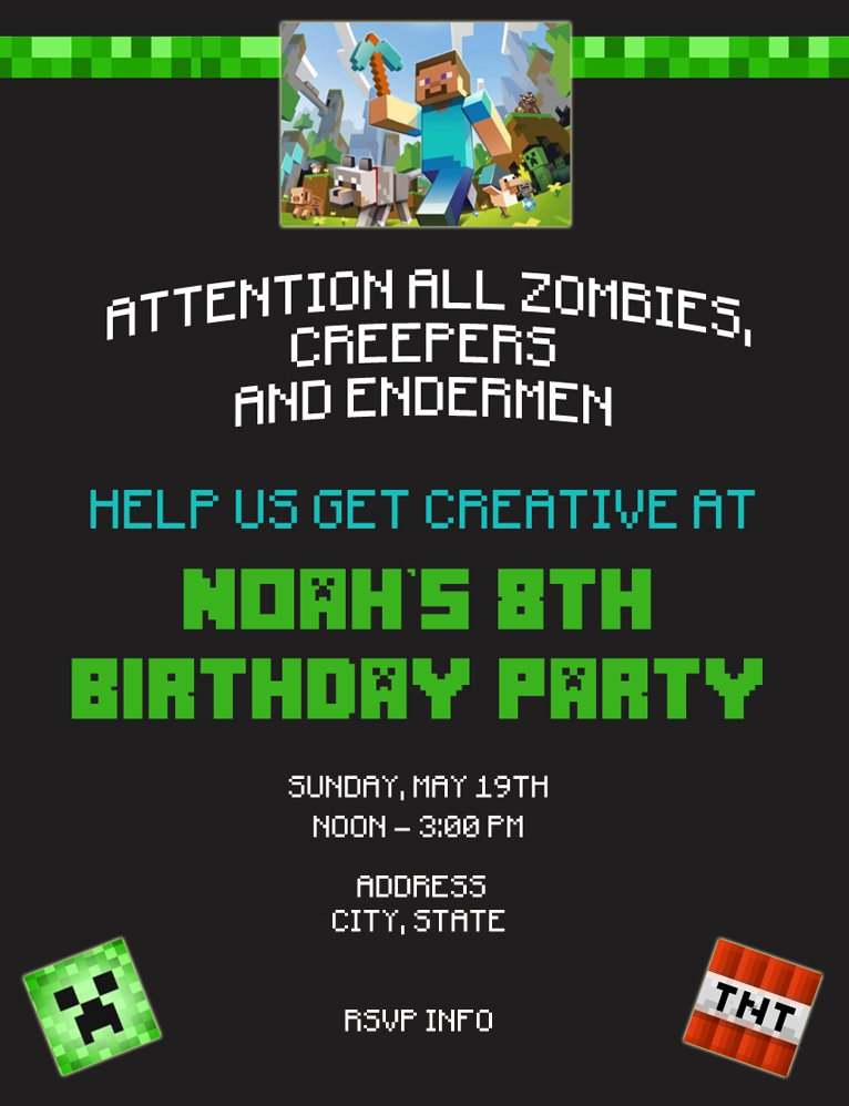 minecraft party invitation ideas