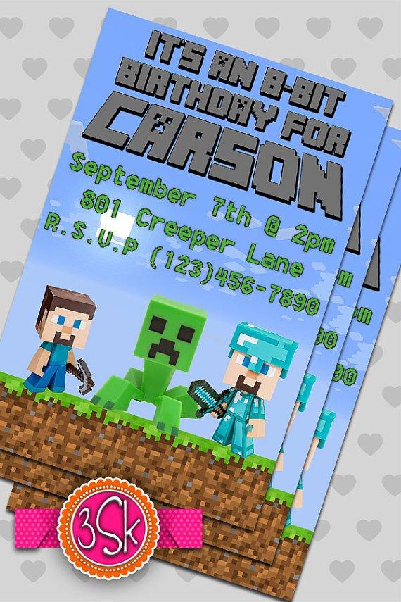 Minecraft Party Invitation Templates