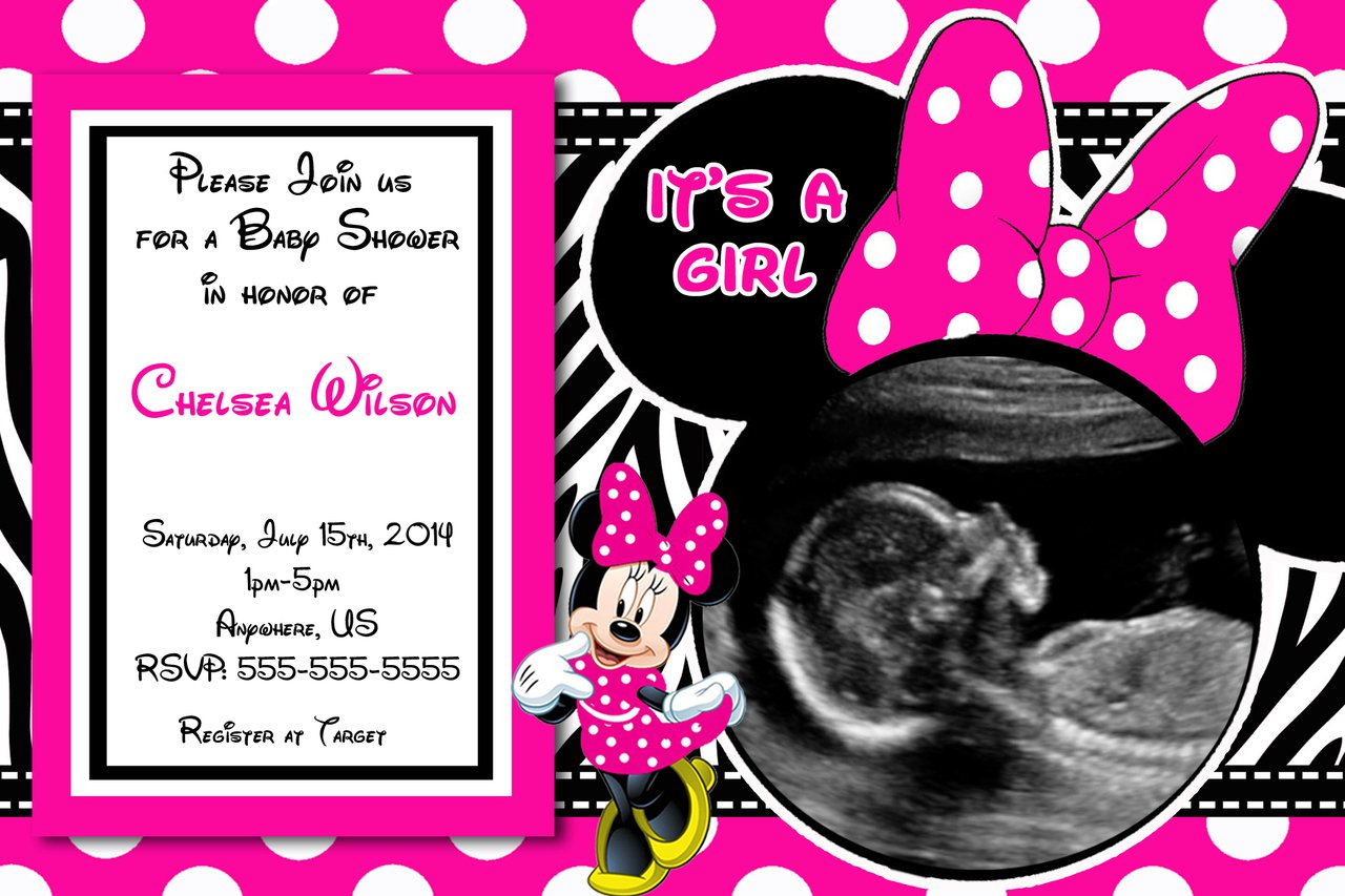Minnie Mouse Baby Shower Blank Invitations