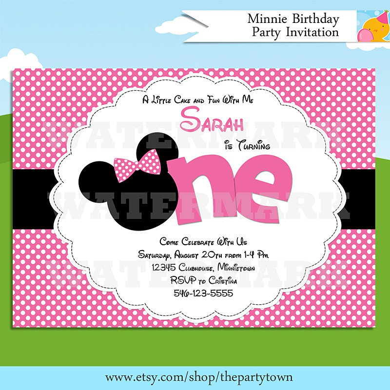 Minnie Mouse Blank Invitations Templates Free