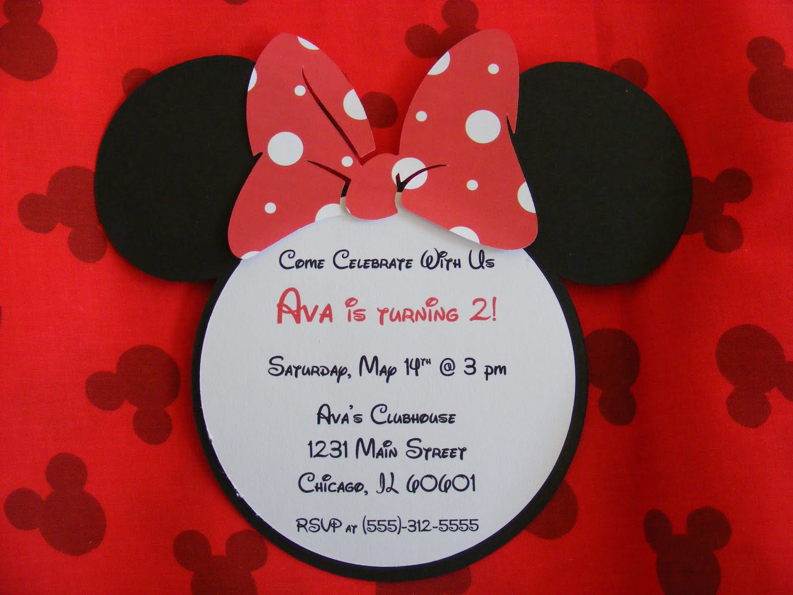 Minnie Mouse Red Printable Invitation