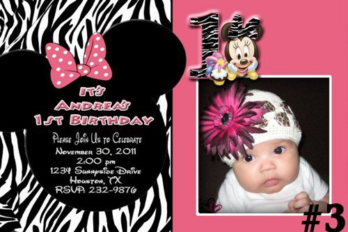 Minnie Mouse Zebra 1st Birthday Invitations
