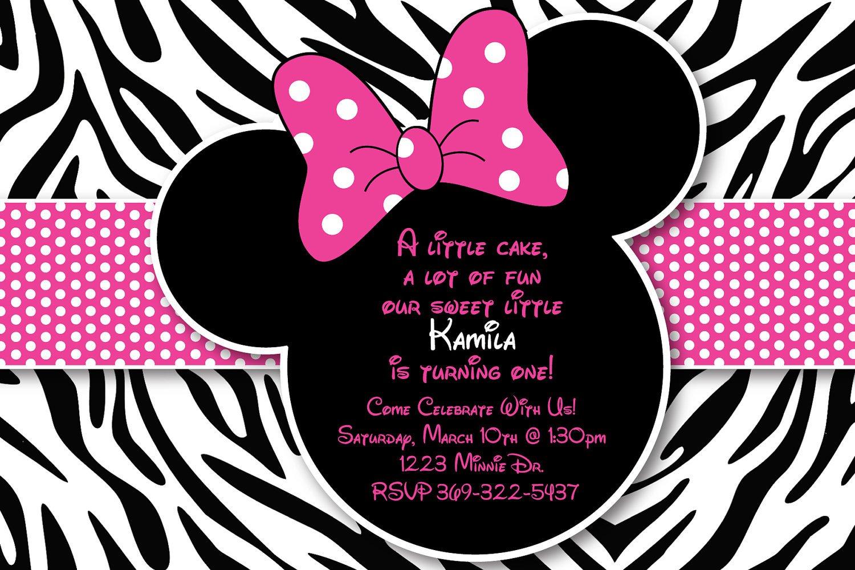 Minnie Mouse Zebra Birthday Party Invitations