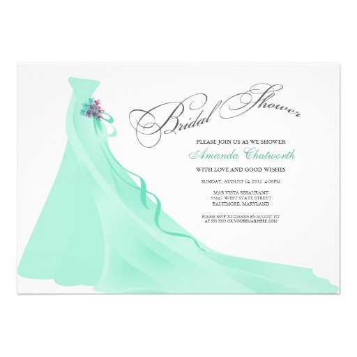 Mint Color Bridal Shower Invitations
