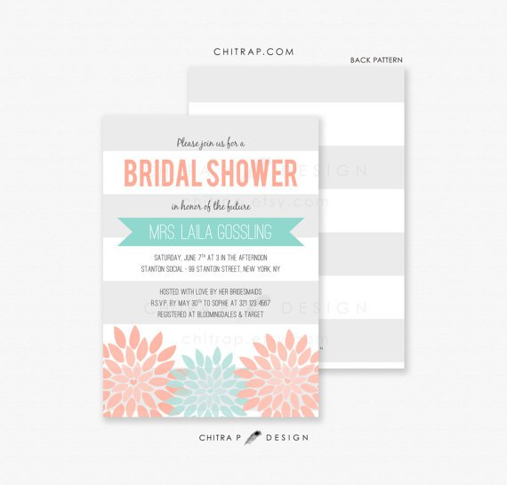 Mint Green And Coral Bridal Shower Invitations
