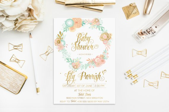 Mint Peach And Gold Wedding Invitations