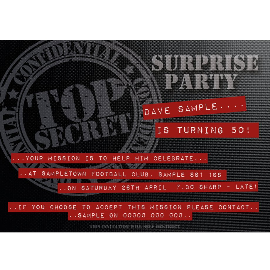 Mission Impossible Birthday Party Invitations