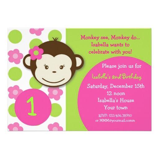 Mod Monkey Birthday Invitations Girl