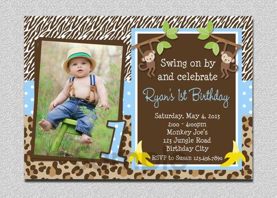 Monkey 1st Birthday Invitations Girl