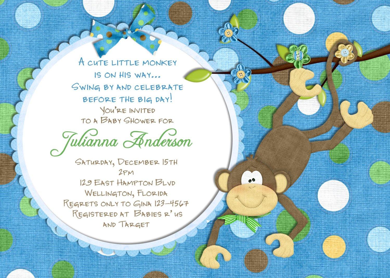 Monkey Baby Shower Invitation Wording