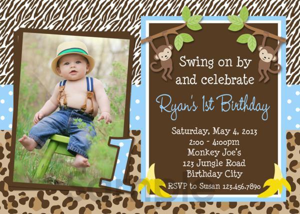 Monkey Birthday Invitations For Girls