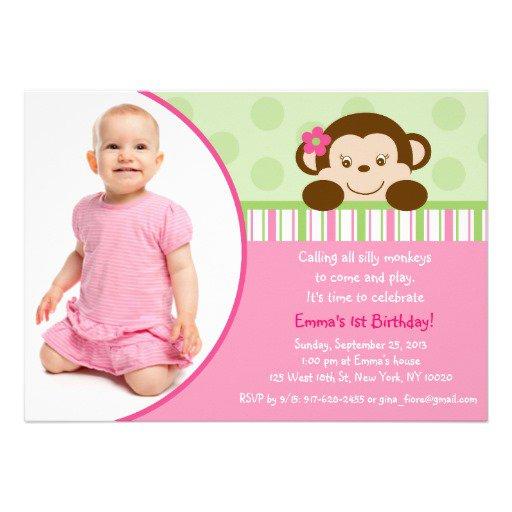 Monkey Girl Birthday Party Invitation