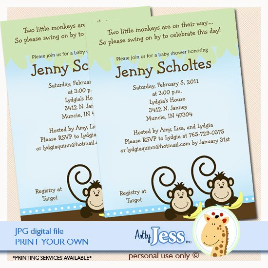 Monkey Invitations Print Your Own