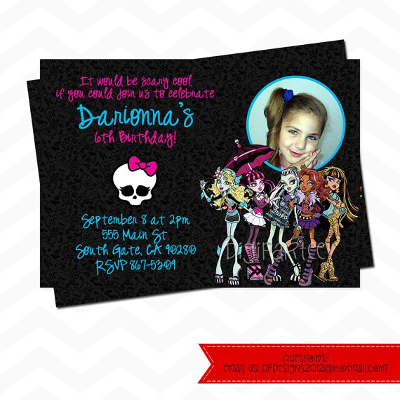 Monster High Birthday Invitation Wording