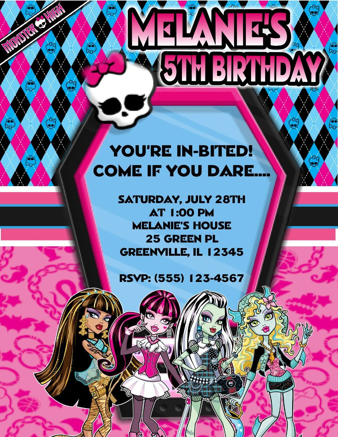 Monster High Party Invitations Printable