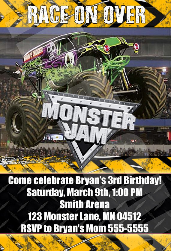 Monster Jam Birthday Invitations