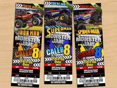 Monster Jam Party Invitations Templates
