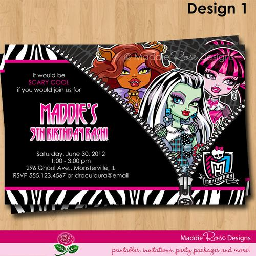 Monster Party Invitations Printed